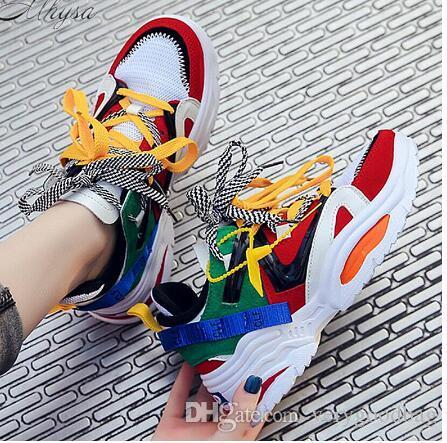 2019 Spring Новая мода Смешанные цвета Модные Женщины кроссовки Толстая подошва Женская обувь платформы коренастый папа кроссовки