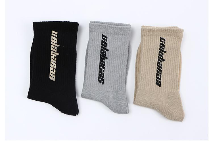 Mode lettre Stock hommes Tendance tendance d'été de style hommes de la rue unisexe femmes chaussettes longues chaussettes de tube milieu Calabasas