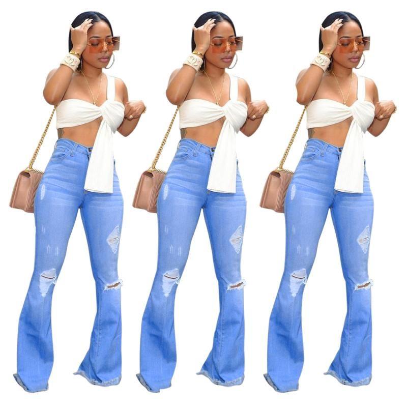 Tmustobe 가을 스트리트웨어 플레어 찢어진 여성이 높은 허리 다리 바지 Slim 탄력 있는 청바지 종 바닥 여성