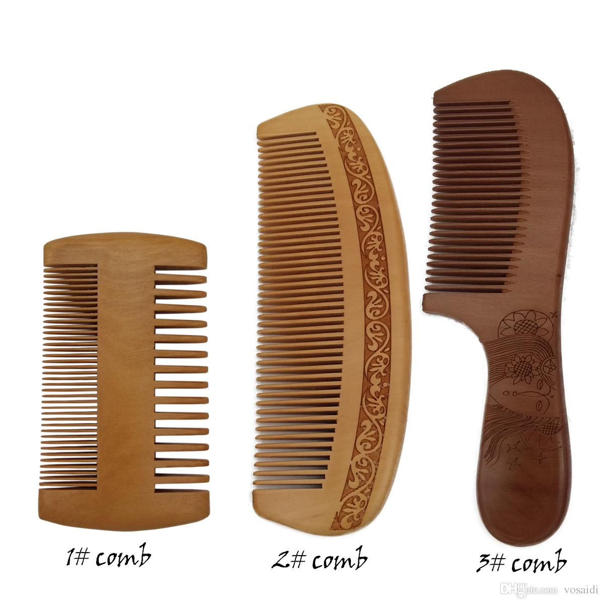 Vosaidi деревянный гребень для Detangling персик Вудком для прямых волос нет статический расческа Расческа для вьющихся волос