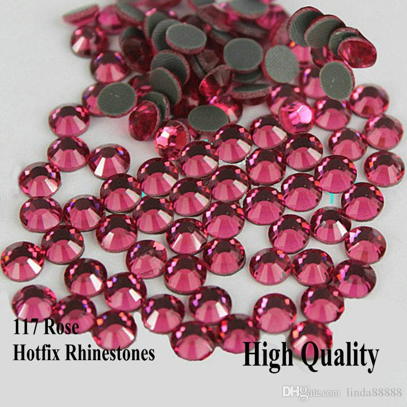 Flatback Loose Rhinestones Rose DMC Hot Fix Rhinestone More Shiny Super good quality Hotfix Iron On Stones