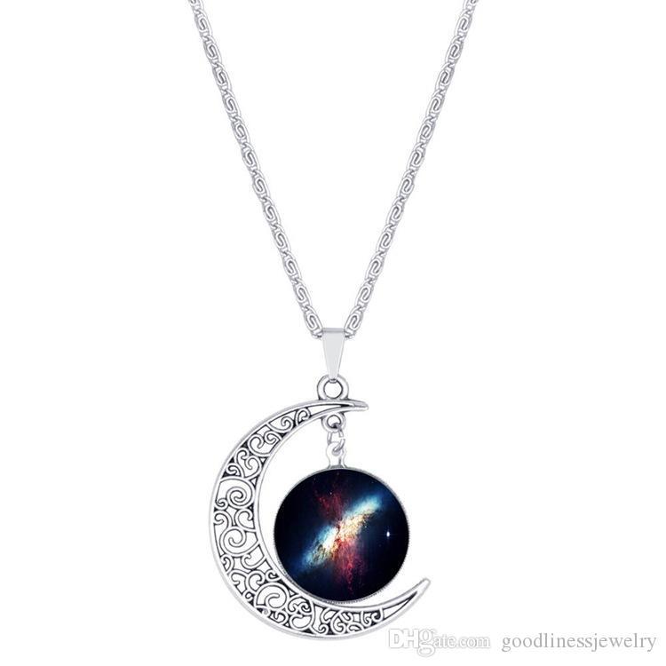 Charms Collane per le donne Argento Marca carino monili Normativa collana Galaxy Glass Collane NecklacePendants Maxi Luna Collane