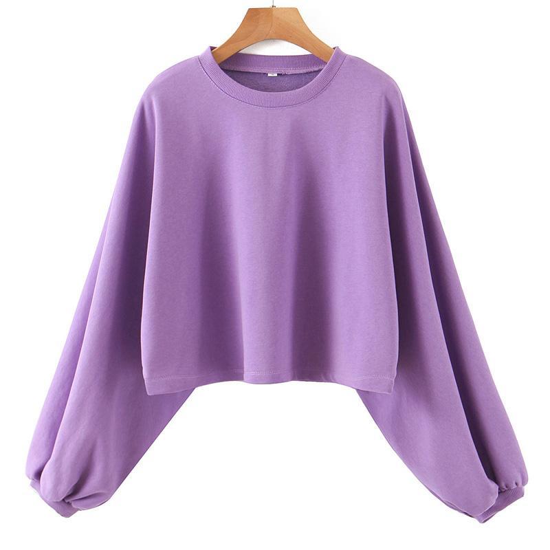 Agong Casual O Cuello con capucha Mujeres sólido de la manera púrpura sudadera con capucha elegante de las mujeres de la manga femenina Damas EAA