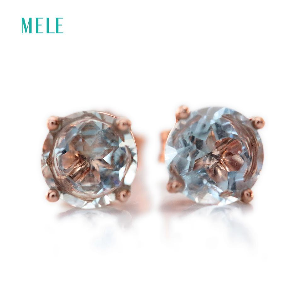 Natural Aquamarine Silver Earring, Round 6mm*6mm, Light Blue Color And Lovely Design, Fashion Women's Jewelry Y19052401