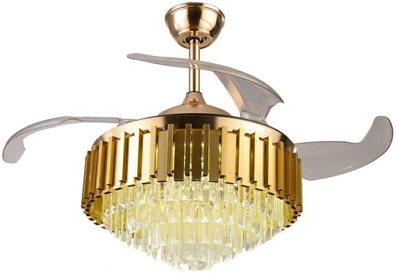 Lampadario di cristallo moderno Chic Crystal Serful indoor Luxury Hinding Silenzioso 42 pollici Ventilatore a soffitto retrattile in oro lucido con telecomando
