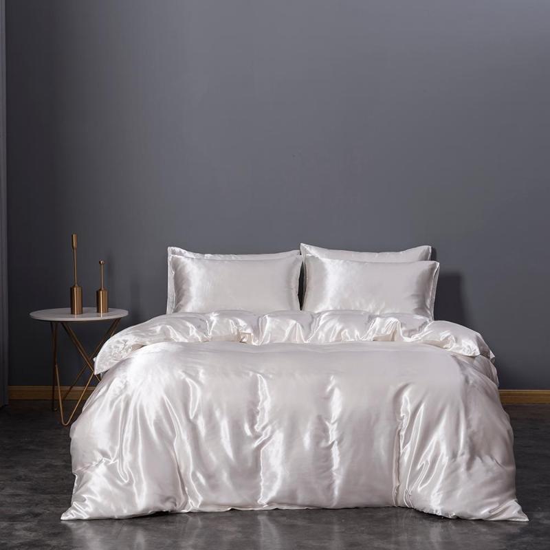 3 pedaço fundamento branco, seda cetim capa de edredão, seda tampa microfibra edredão, estofar extra grandes (104 x 90 polegadas), um Q