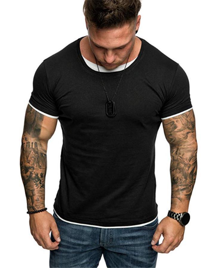 남성 스포츠 티셔츠 Colorblock 슬림 단색 짧은 소매 O - 넥 T 셔츠 옴므 피트니스 최고
