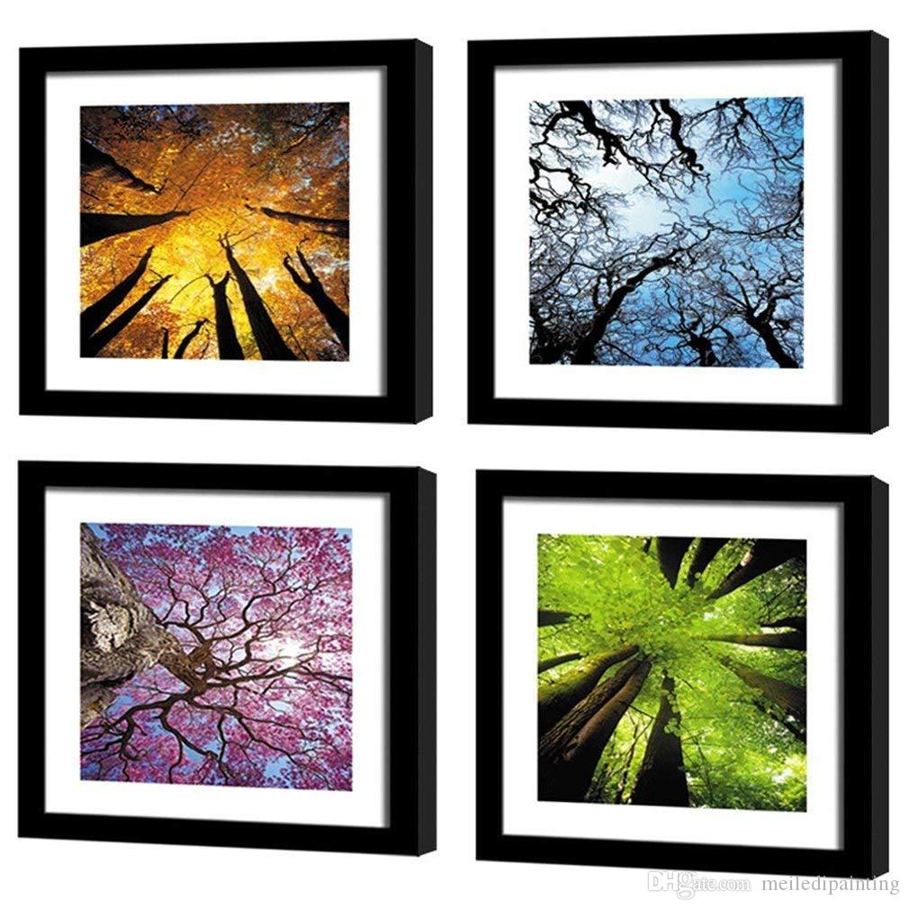 Amosi Art Canvas Wall Art Spring Summer Autumn Winter Four Seasons Landscape Color Tree Painting Prints Modern Art Stretched Black Framed