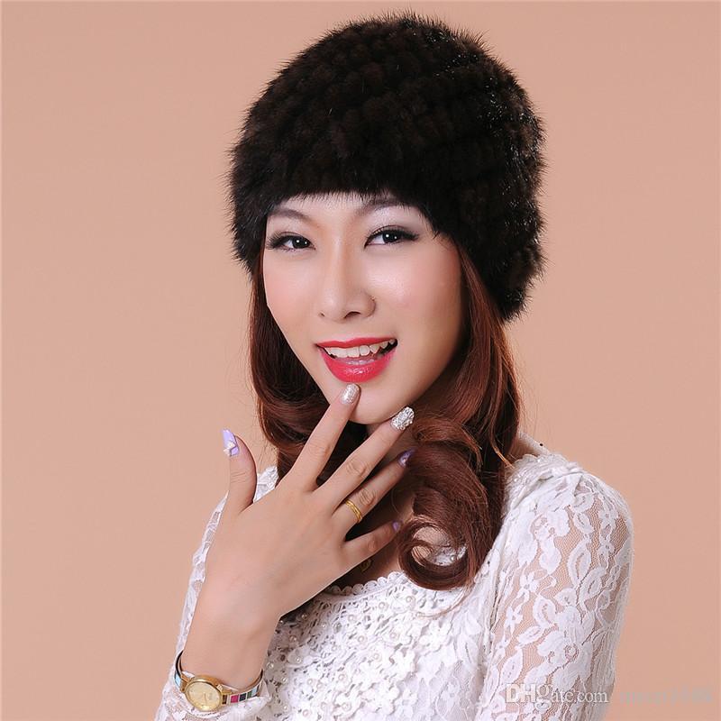 Женская шапка модные аксессуары новые переплетения меховые шапки качество модная шапка женщины зима теплая шапка 100% мех Бесплатная доставка