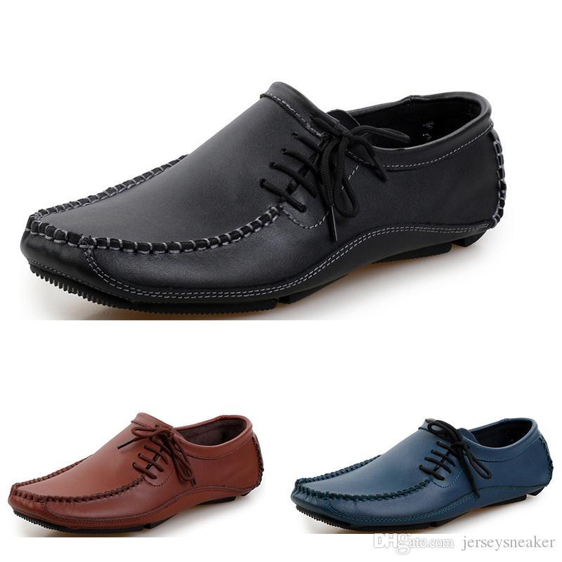 Nuevos zapatos de moda de los hombres zapatos de vestir negros blancos llegada correas gris marrón respirables ocasionales de los deportes sneakes zapatos de vestir de moda 13