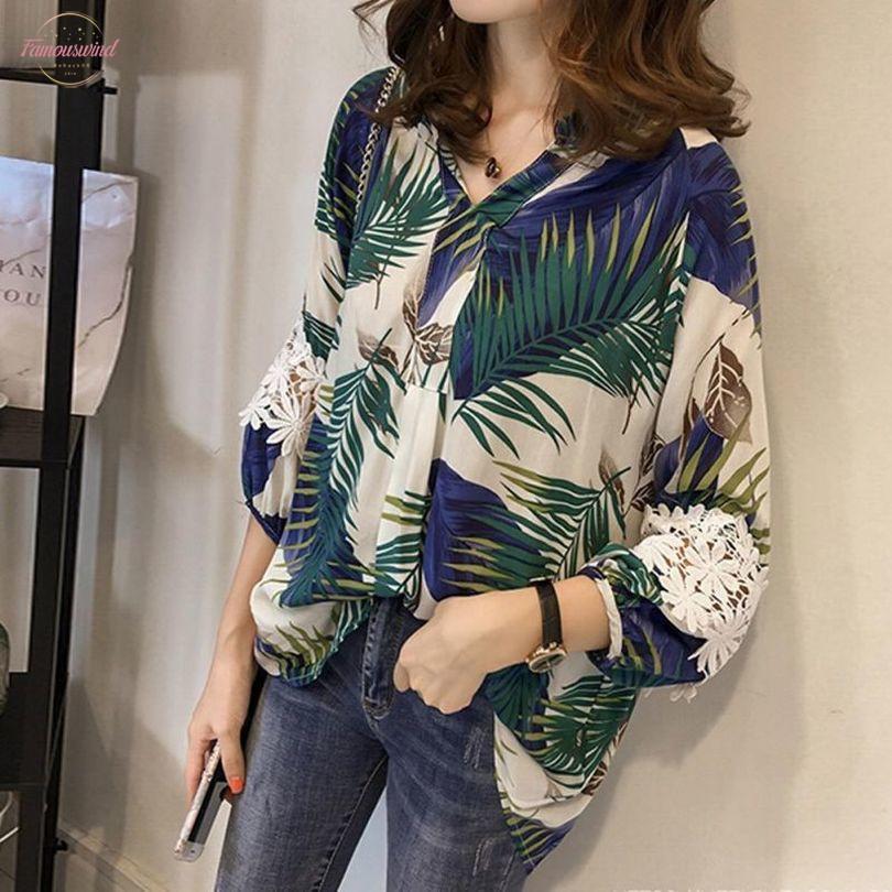 Mulheres Floral Vintage V Neck Blusas manga longa soltas camisas Lace Patchwork Casual Plus Size Blusas Femininas 4XL Europeia