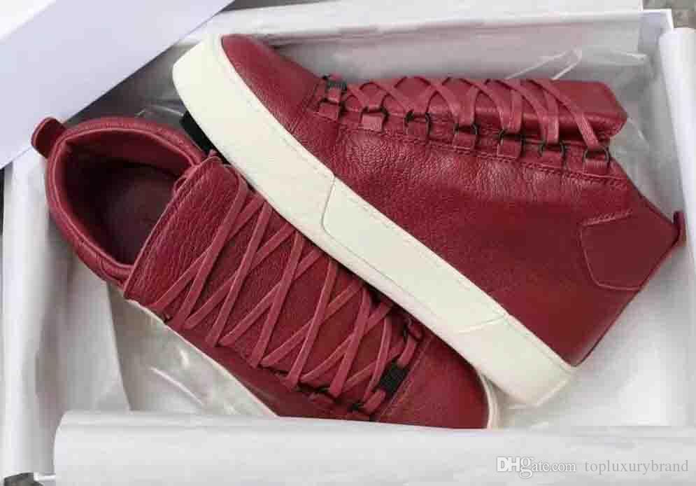 Marca Itália Sneakers Homem Causal Shoes Arena enrugado couro High Cut preto branco vermelho da sapatilha Fashion Designer Preto Branco Verde Cinzento