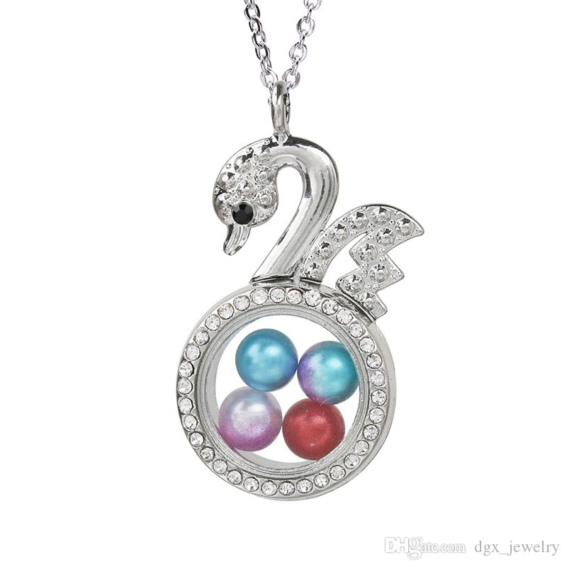 Magnetic Open Glass Locket Rhinestone Swan Charms Pearl Cage Pendant Living Memory Floating Accessories Necklace for Women Charms Making