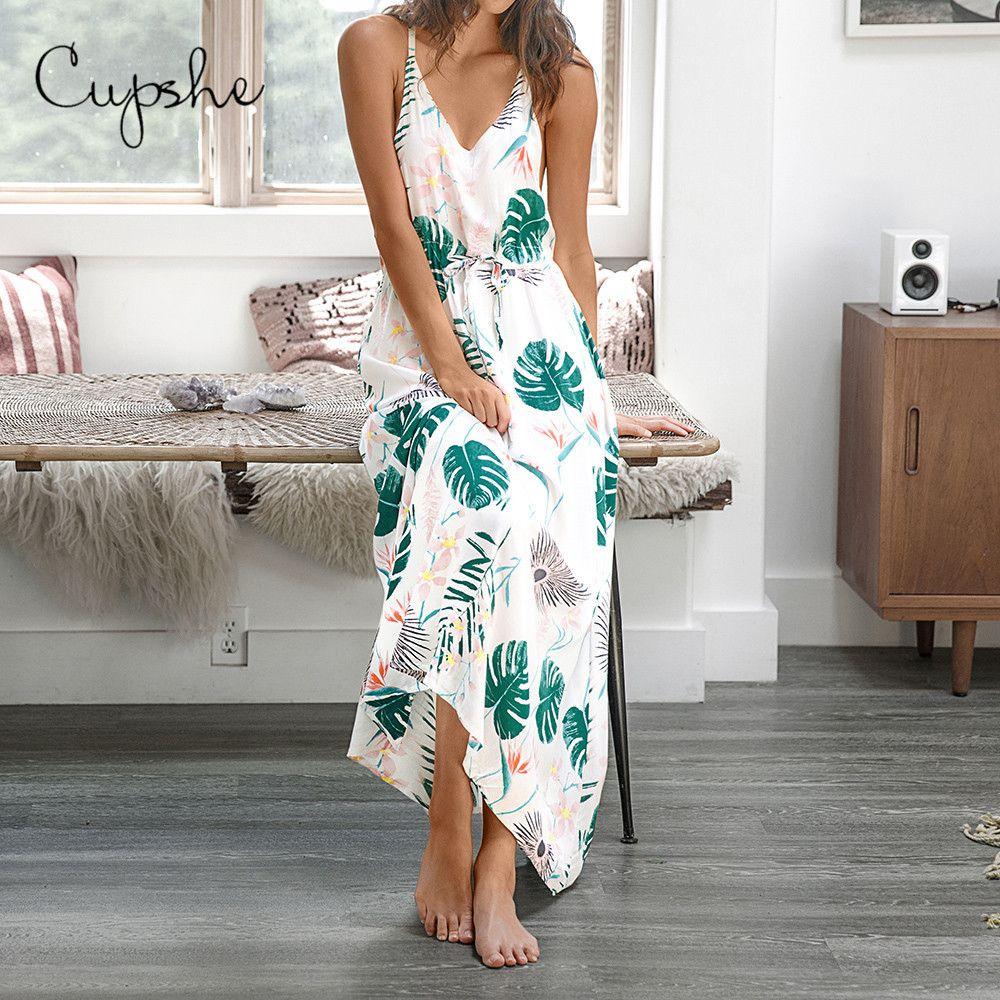 CUPSHE femmes feuillu Imprimer le cou V long Maxi robe 2019 New Summer Beach Slim manches Casual Spaghetti Robe Vestido