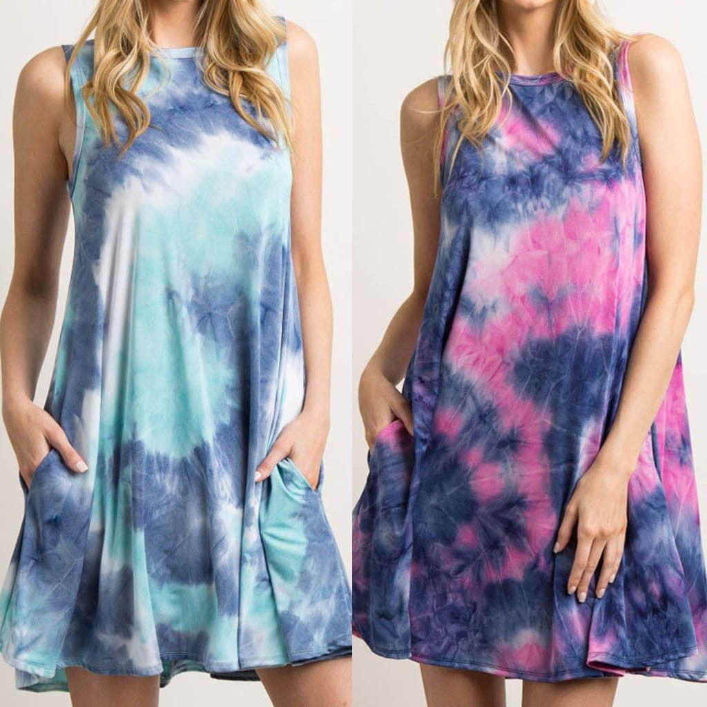 abito elegante di modo delle donne tie-dye maniche con spalline Summer Beach Gradient Altalena abito vestidos largos