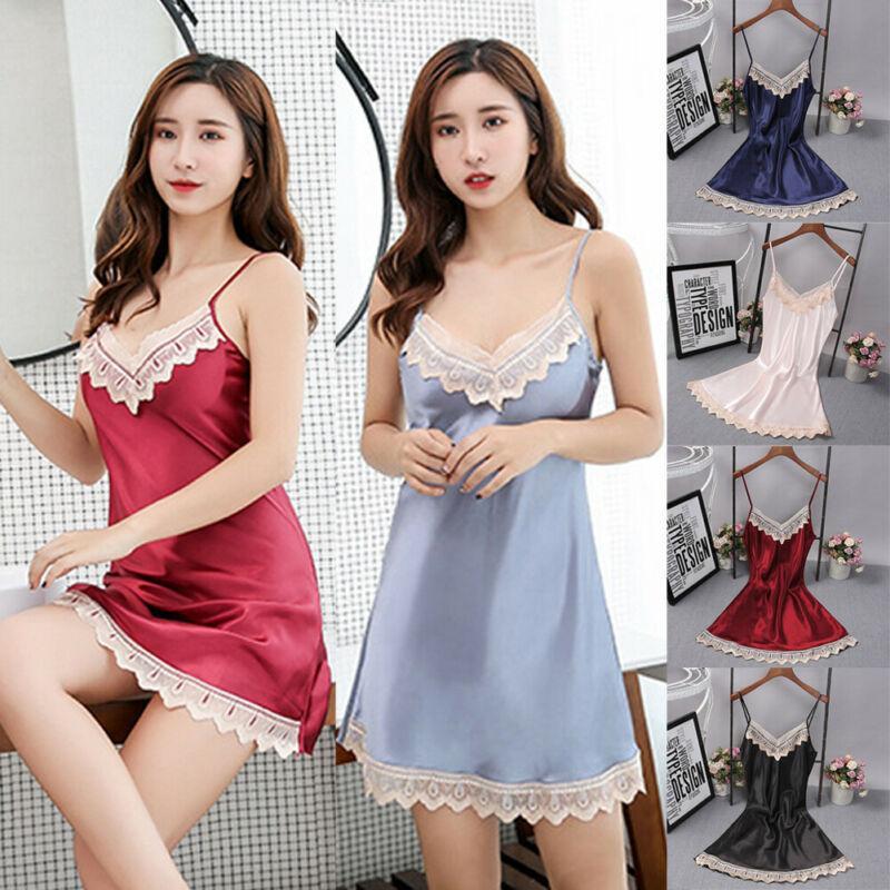 Beauful Kleidung Mode Sexy Satin Nachtwäsche Anzug Pyjamas Wäsche-Unterwäsche-Dame Women 4 Farben
