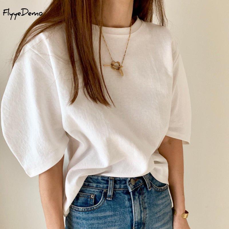 Os doces colorem Em armazém T Shirt Mulheres perca metade de mangas Sólidos T-shirt O pescoço Tamanho Verão Top livre camisetas Coréia moda fresco do estilo