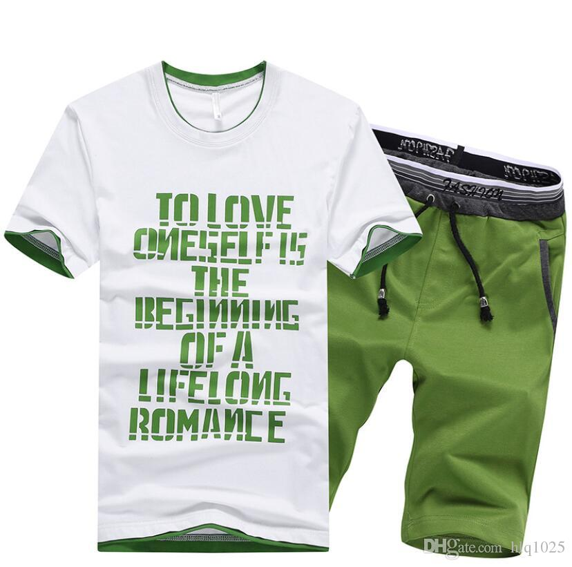 Fashion Short Tracksuit for Men Summer Designer Short Sleeve T-shirt + Shorts Suit Men's Casual Two Piece in 4 Colors