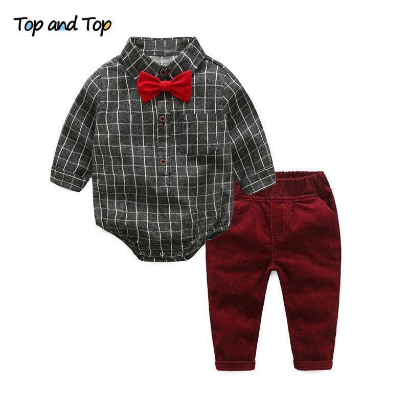 Ve Üst Erkek Bebek Giysileri Yenidoğan Giyim Setleri Çuha Pamuk Beyefendi Moda Ekose Tulum + Kot 2 adet / takım Q190530