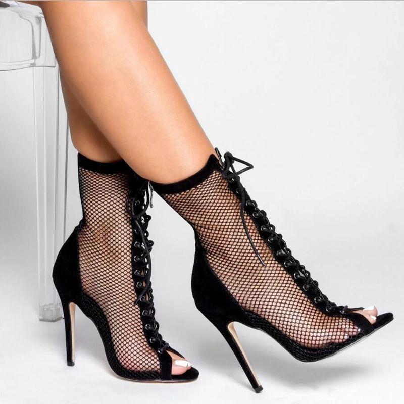 الأزياء زيبر تو اللمحة شبكة أحذية الخريف الشريط الكاحل أحذية صنادل رقيقة الكعب العالي المرأة الكعب العالي bootie حذاء حجم 35-40