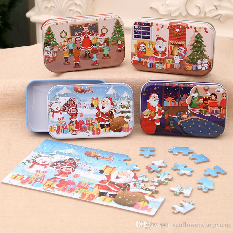 Christmas Wooden Puzzle Kids Toy Christmas Santa Claus Puzzle Xmas Children Early Educational Wood Jigsaw Kids Christmas Gifts