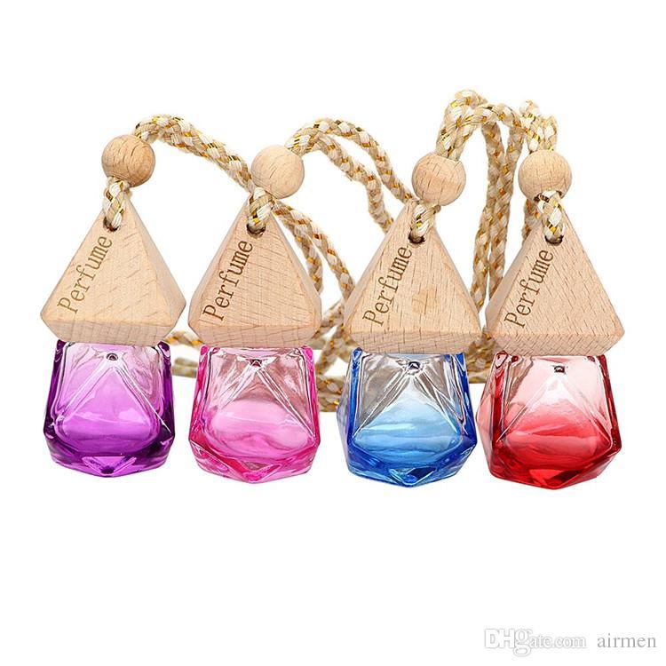 6ml Diamond Glass Perfume Bottle Pendant Car Hanging Perfume Bottles Air Freshener Carrier Essential Oil Hang Rope Bottle with Cap