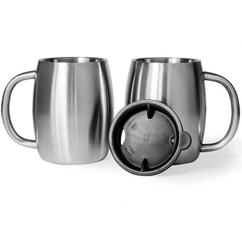 Tazza di caffè in acciaio inox Tazza di birra a doppia parete Tazza di acqua in viaggio all'aperto Camping Sport tazze 14 oz