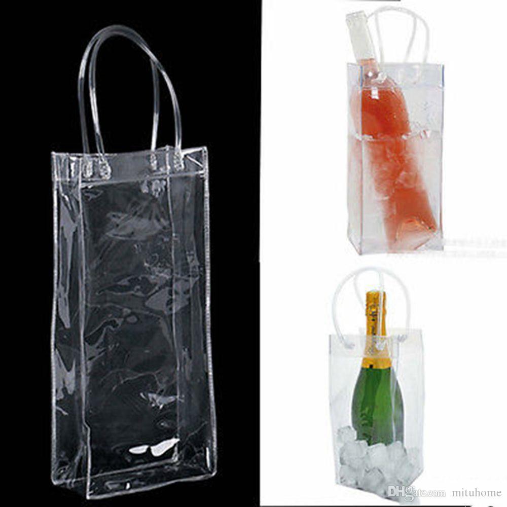 PVC Sızdırmaz Buz Çanta Çevre Dostu Şeffaf Buz Paketi Taşınabilir Buz Kovası Şarap Şampanya Şişe Soğutucu