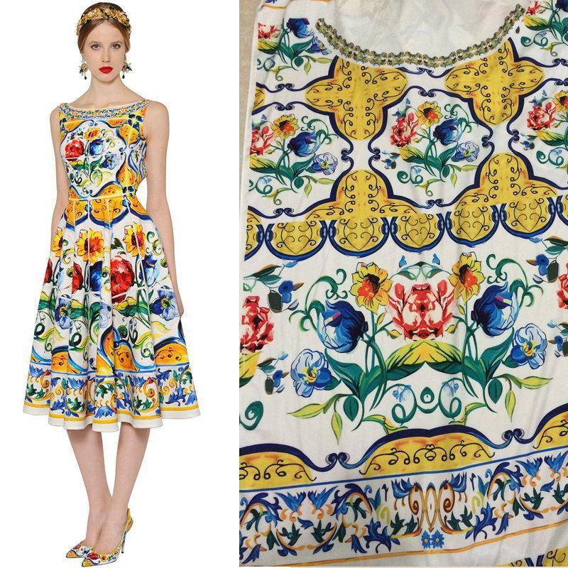 165X145cm Неделя моды расположена Китай Керамика Живописи майолика оттисков Шелковой атласной ткани для женщин Длинных платьев