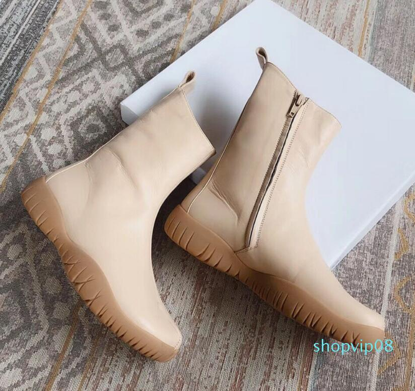 Hot Sale-High-quality 2019 spring fall womens Ladies black white NUDE BEIGE Silver BROWN REAL Leather rubber flat sole Tabi TOE ZIP UP BOOTS