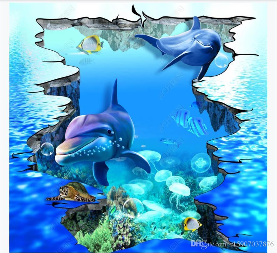 Customized 3D photo self-adhesive waterproof floor mural wallpaper HD super large 3D ground cracked dolphins underwater world outdoor floor