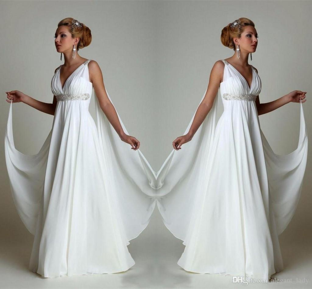 Simple Chiffon Empire Waist Beach Wedding Dresses Greek Modern V Neck Plus Size Bridal Gown Cheap Vestido Wedding Gowns