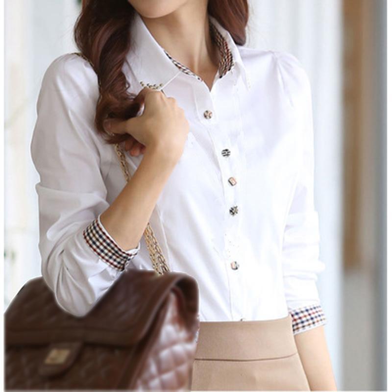 2019 nuova estate di modo Qualitie donne Office Lady Formal carriera a maniche lunghe aderente colletto della camicia casual Camicetta bianca Tops