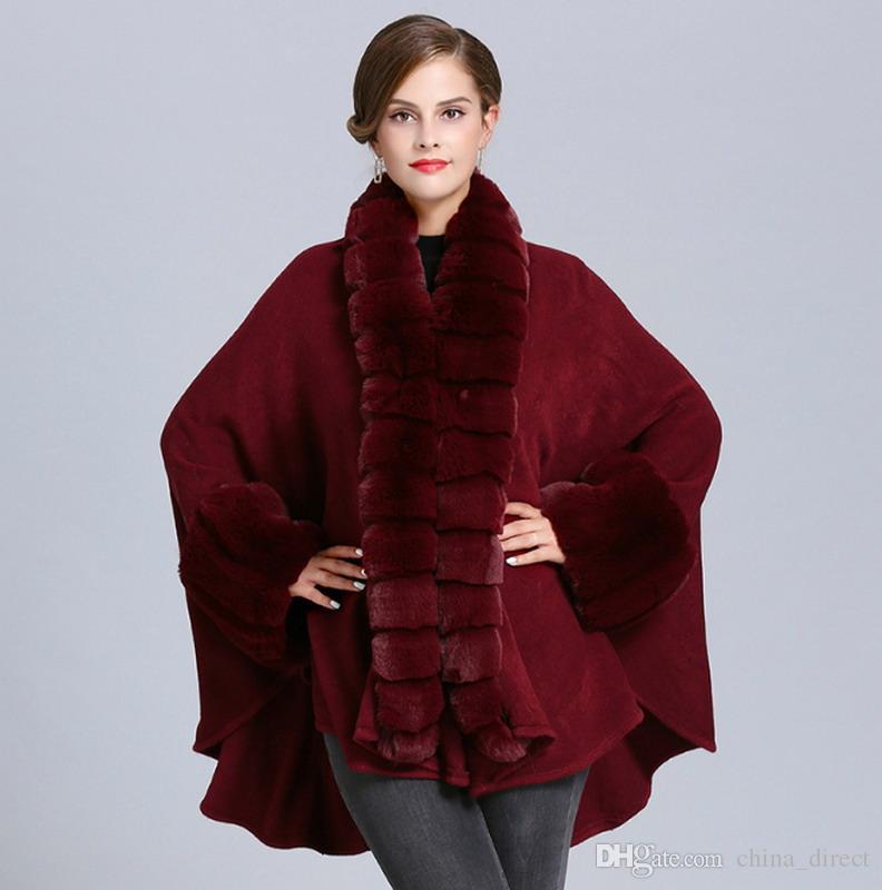 Weibliche Faux-Fuchspelz fester Cape Poncho Strickjacke Strickdameschal Stola Wraps Pullover # 4143