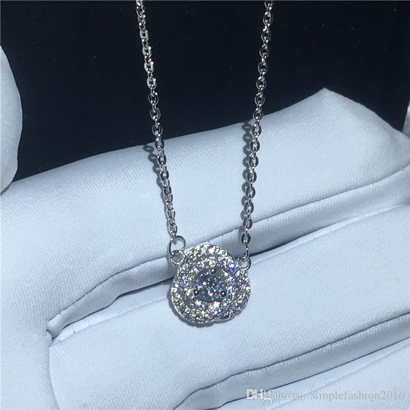 Brilliant pendant With necklace 925 Sterling silver Bijoux 5A zircon Cz Engagement wedding Pendants for women costume jewelry