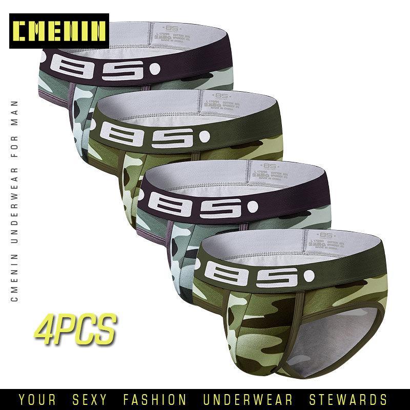 4pcs Marque Slips Sous-vêtements masculins Cueca Slips slips sexy hommes Sous-vêtements Hommes pour hommes en gros Underpants Sexy Man Bobette T200511