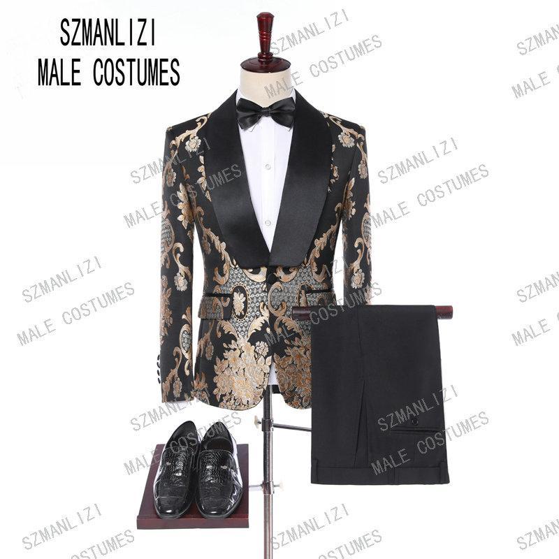 Nuevo 2019 clásico bordado de oro trajes de los hombres para el novio esmoquin traje Homme padrinos de boda para hombre trajes de baile mejor hombre Blazer