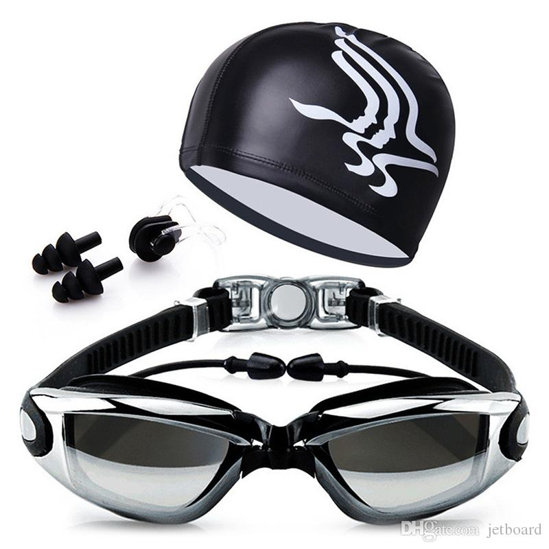 YJM978 HD Waterproof Anti-fog Swimming Glasses with Swimming Cap