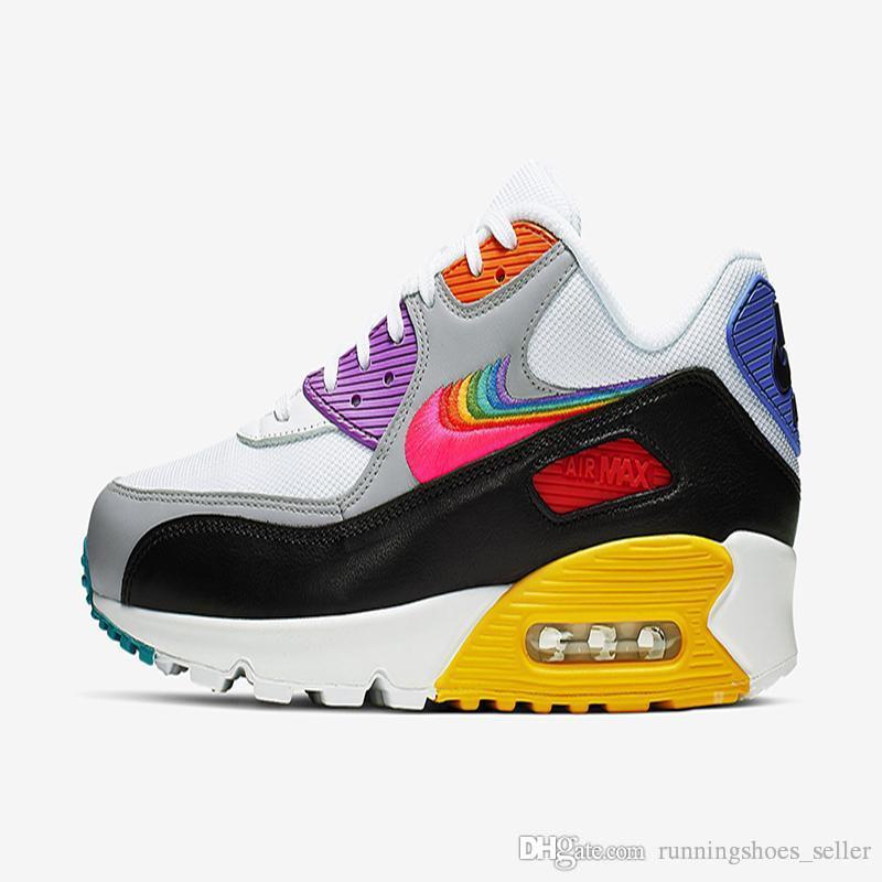 2019 Nike Air Max 90 Be True Rainbow Para Mujer Para Hombre Zapatillas De  Deporte Air Mesh 90s De Diseño CJ5482 100 Tamaño Eur 36 46 Por ...