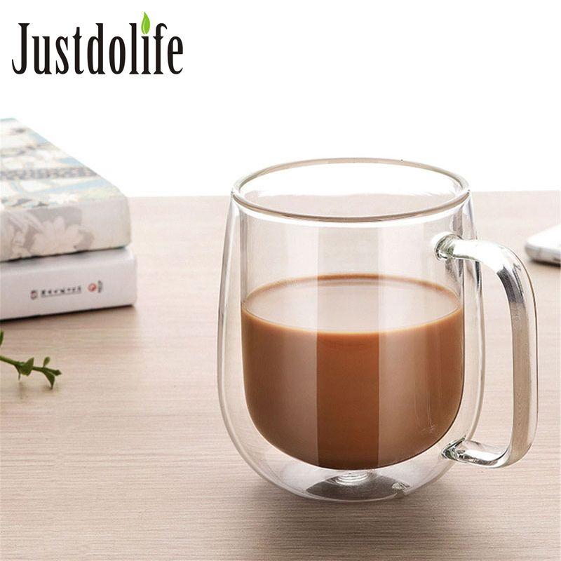 350ml Coffee Cup Milk Mug High Quality Double Wall Transparent Round Insulated Glass Mug Coffee Tea Cup Drinkware Creative Gift T8190627