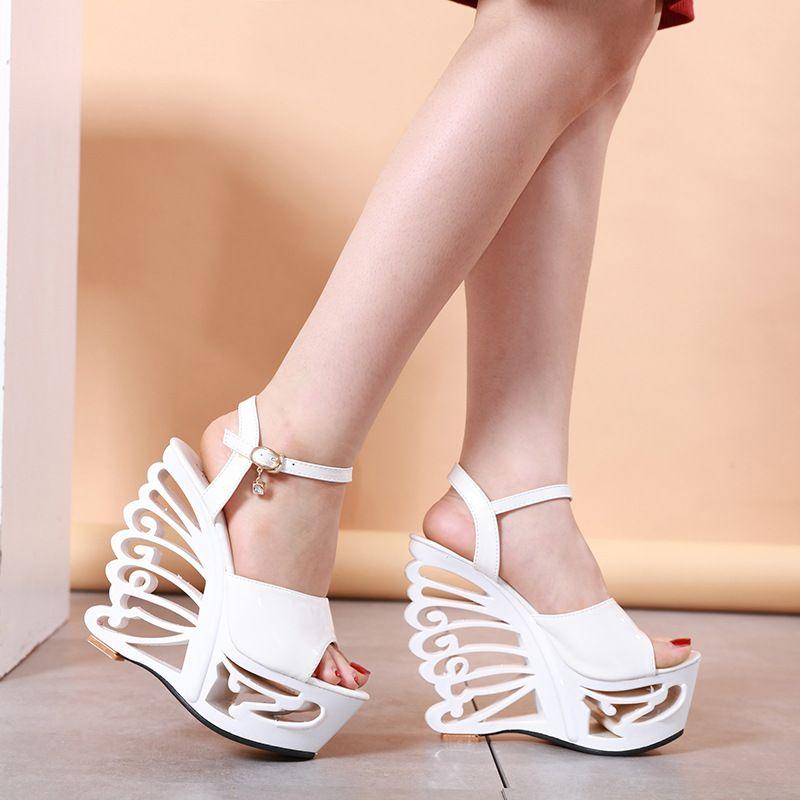 Shinning Pu Leather Pvc Sandals Women High Heels Strange Patent Ladies Summer Shoes Sandals Buckle Strap Strange Fashion Party