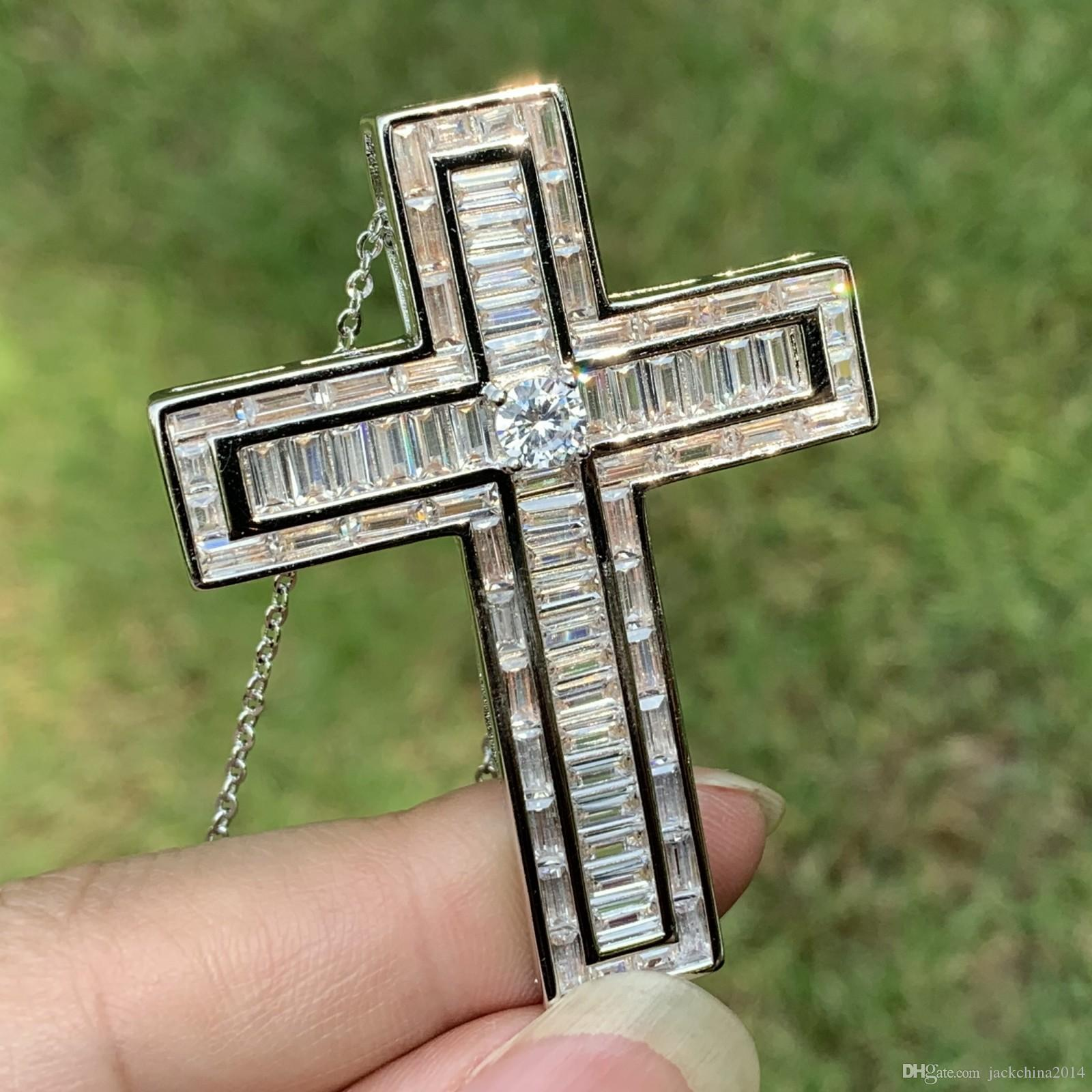 Vicoria Wieck Sparkling Luxury Jewelry 925 Sterling Silver Princess Cut White Topaz CZ Diamond Gemstones Lucky Cross Pendant Necklace Gift