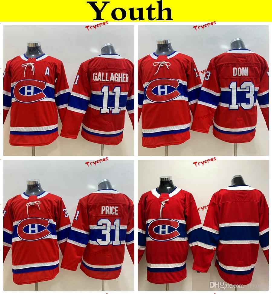 Gioventù Montreal Canadiens 2019 31 Carey Prezzo 11 Brendan Gallagher 13 Max Domi Hockey maglie economici signore bambini ragazze ragazzi cuciti magliette