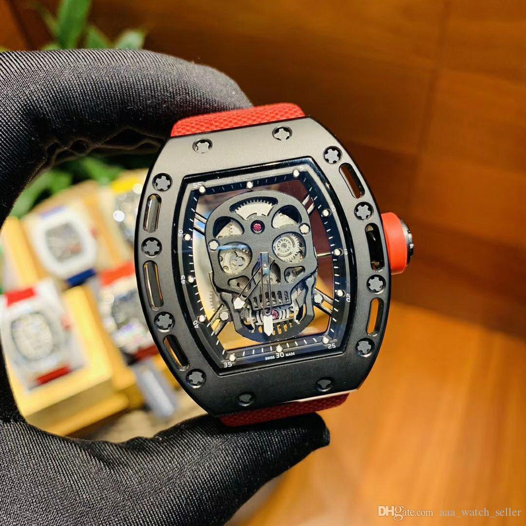 2020 последняя версия мастер-дизайнер смотреть RM052 Sketelon скелетонизированный турбийон наручные часы классического красного и черно роскошные Мужские спортивные часы