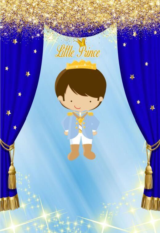 5x7FT Little Prince Royal Blue Curtain Pattern Gold Glitter Custom Photo Studio Background Backdrop Vinyl 150cm x 220cm