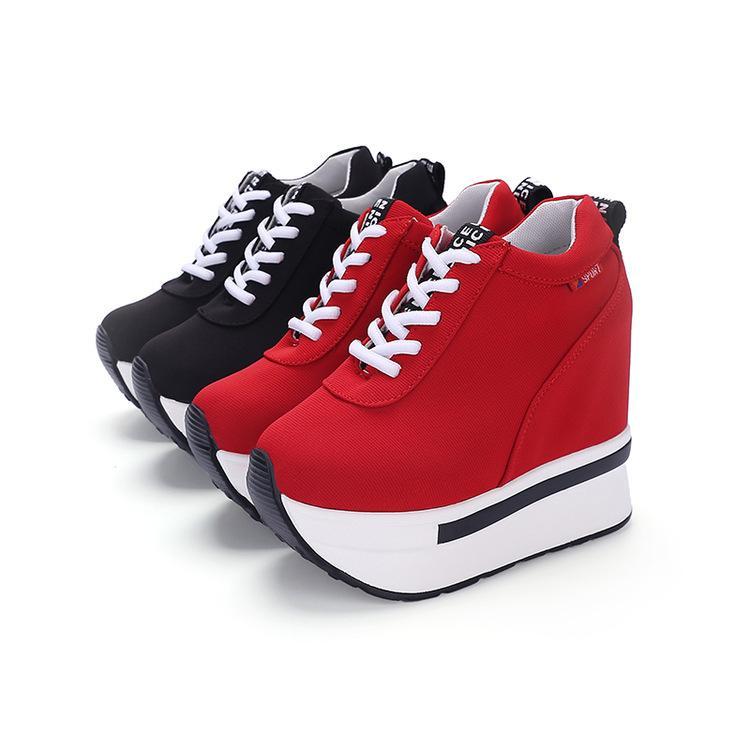Otoño de 2016 Nueva Flatsoled zapatos cómodos ocasionales permeable al aire Heavysoled Súper tacón alto para mujer Dentro de zapatos crecientes individuales