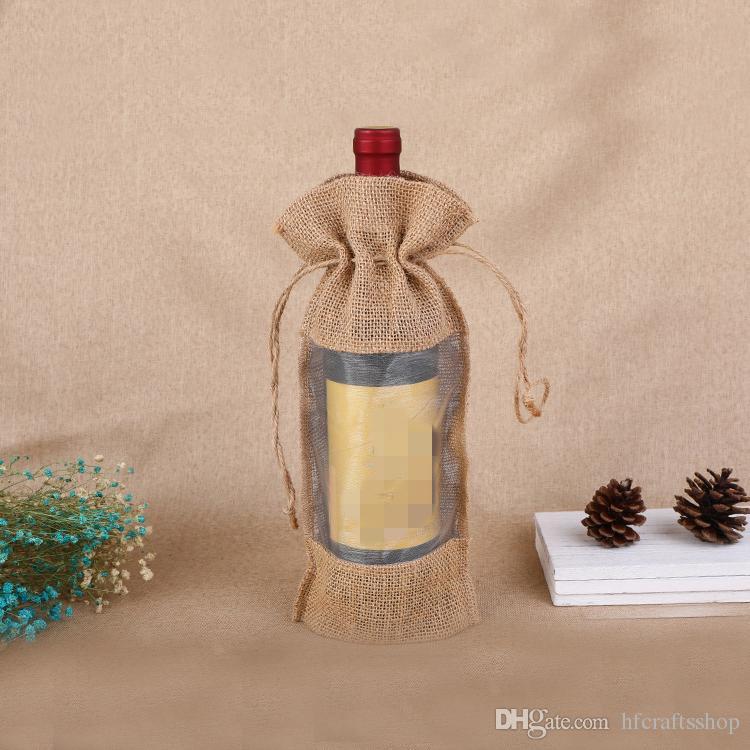 Doğal Hessen Jüt Hediye Çantası 14x30 cm Keten Çuval Bezi İpli Şarap Şişesi Kırmızı Şarap Şampanya için Noel Hediye Kılıfı ...