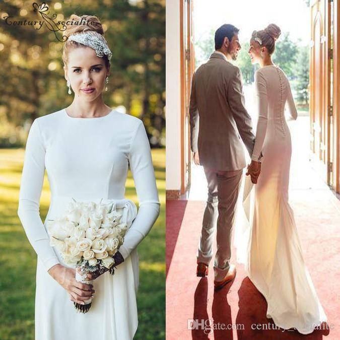 2019 Spring Simple Wedding Dresses Long Sleeves Button Back Soft Satin Floor Length Country Bridal Gowns Robe De Mariee