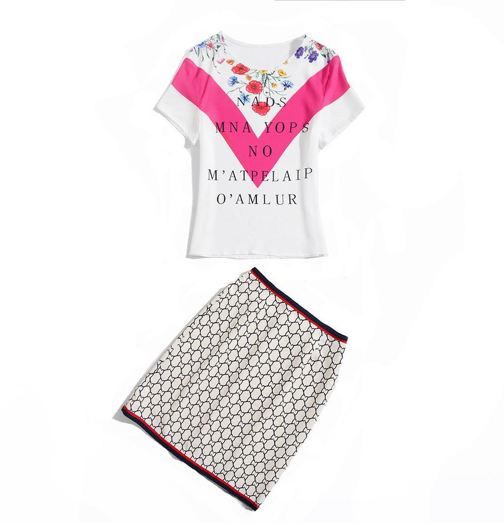 T-shirt 2019 à manches courtes et col rond avec imprimé floral et ensembles de jupes Piste de luxe deux pièces ensemble 2 pièces