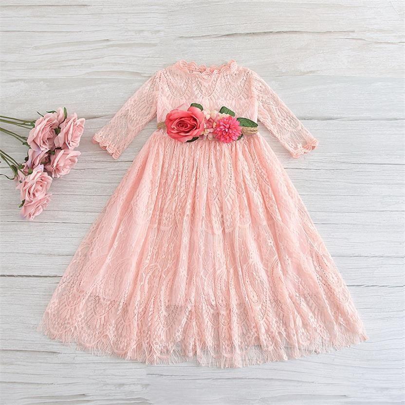 VENTE Flower Girl dentelle à manches longues robe de princesse avec strass ceinture robe de soirée Vêtements pour enfants Noël E1952 T200624